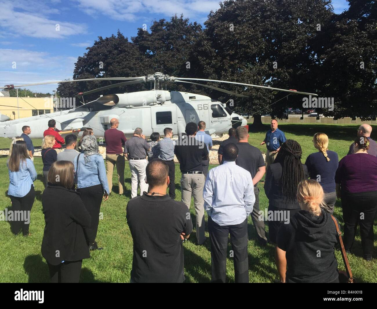 PHILADELPHIA (Sep. 27, 2018) – Newer employees of NAVSUP Weapon Systems Support were provided a tour and description of the aircraft adorning the front lawn of NAVSUP WSS's Building 1 as part of a week-long NAVSUP WSS academy recently held in late September to provide employees a better appreciation and understanding of the organization and its role as the Navy's Program Support Inventory Control Point. Nearly 50 NAVSUP WSS employees gathered for the 48th NAVSUP WSS Academy, held in Philadelphia. Stock Photo