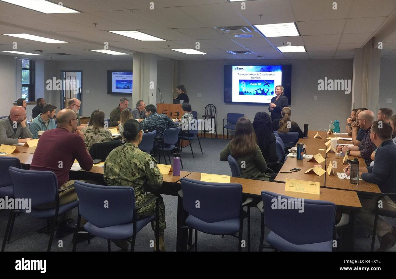 PHILADELPHIA (Sep. 27, 2018) – Kacey Lorson, Deputy Director of N3 Transportation and Distribution Division, NAVSUP Weapon Systems Support-Norfolk, provides a brief to newer employees as part of a week-long NAVSUP WSS academy recently held in late September to provide employees a better appreciation and understanding of the organization and its role as the Navy's Program Support Inventory Control Point. Nearly 50 NAVSUP WSS employees gathered for the 48th NAVSUP WSS Academy, held in Philadelphia. Stock Photo