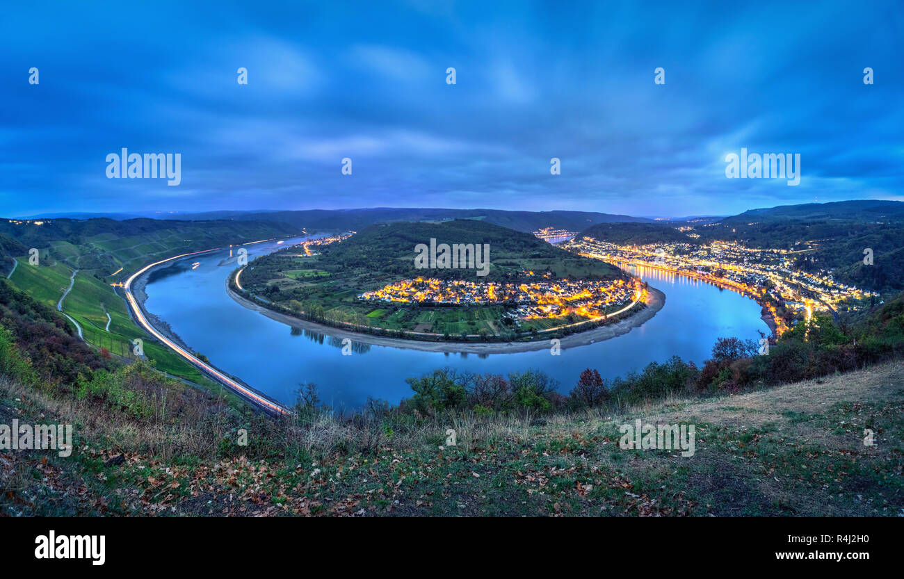 Picturesque bend of the Rhine river near the town Boppard at dusk, Germany, Rhineland-Palatinate Stock Photo