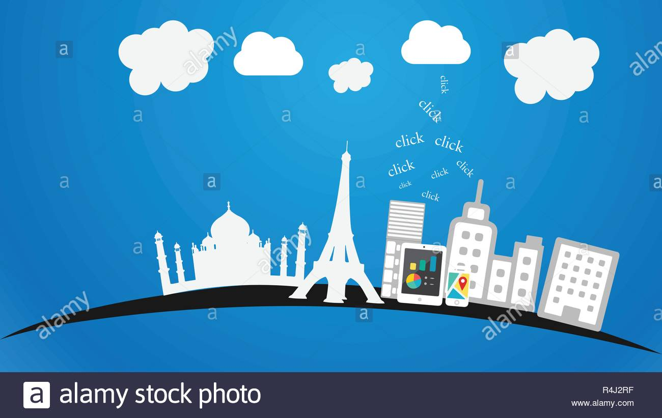 Travel vector Concept with cloud technology - Stock Vector