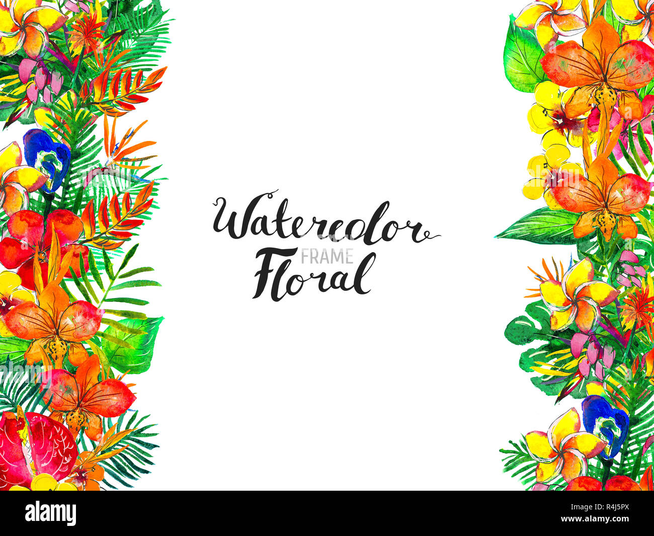 photo regarding Printable Greeting Card Stock named Watercolor Historical past with Tropical Vegetation and Bouquets