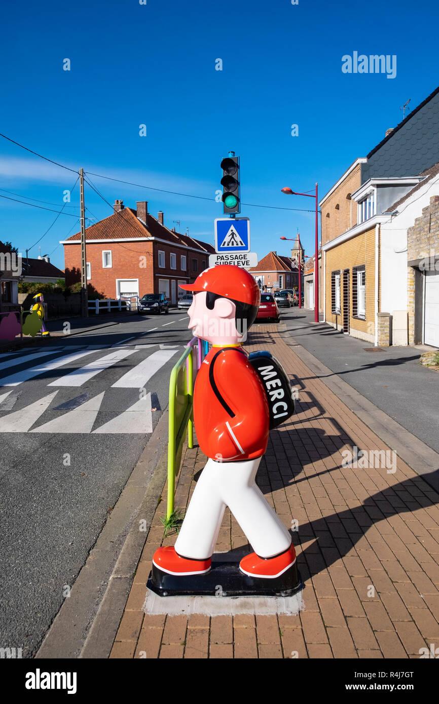 Child speeding deterrent at pedestrian crossing in Belgium. - Stock Image