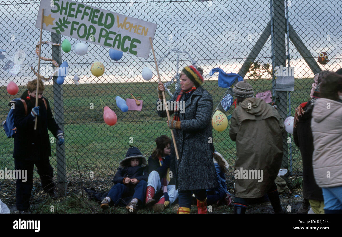 Women at an Anti-nuclear protest against the replacement of the old trident missile systems at Greenham Common - Stock Image