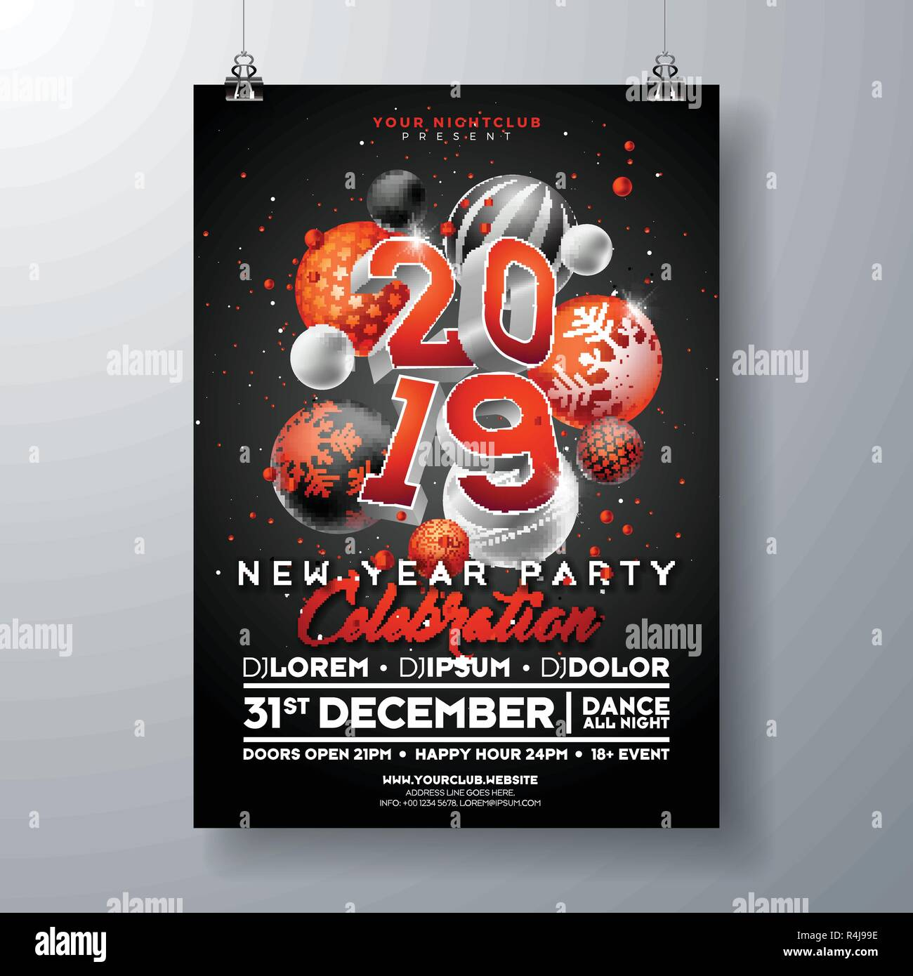 new year party celebration poster template illustration with 3d 2019 number and christmas ball on black background vector holiday premium invitation flyer