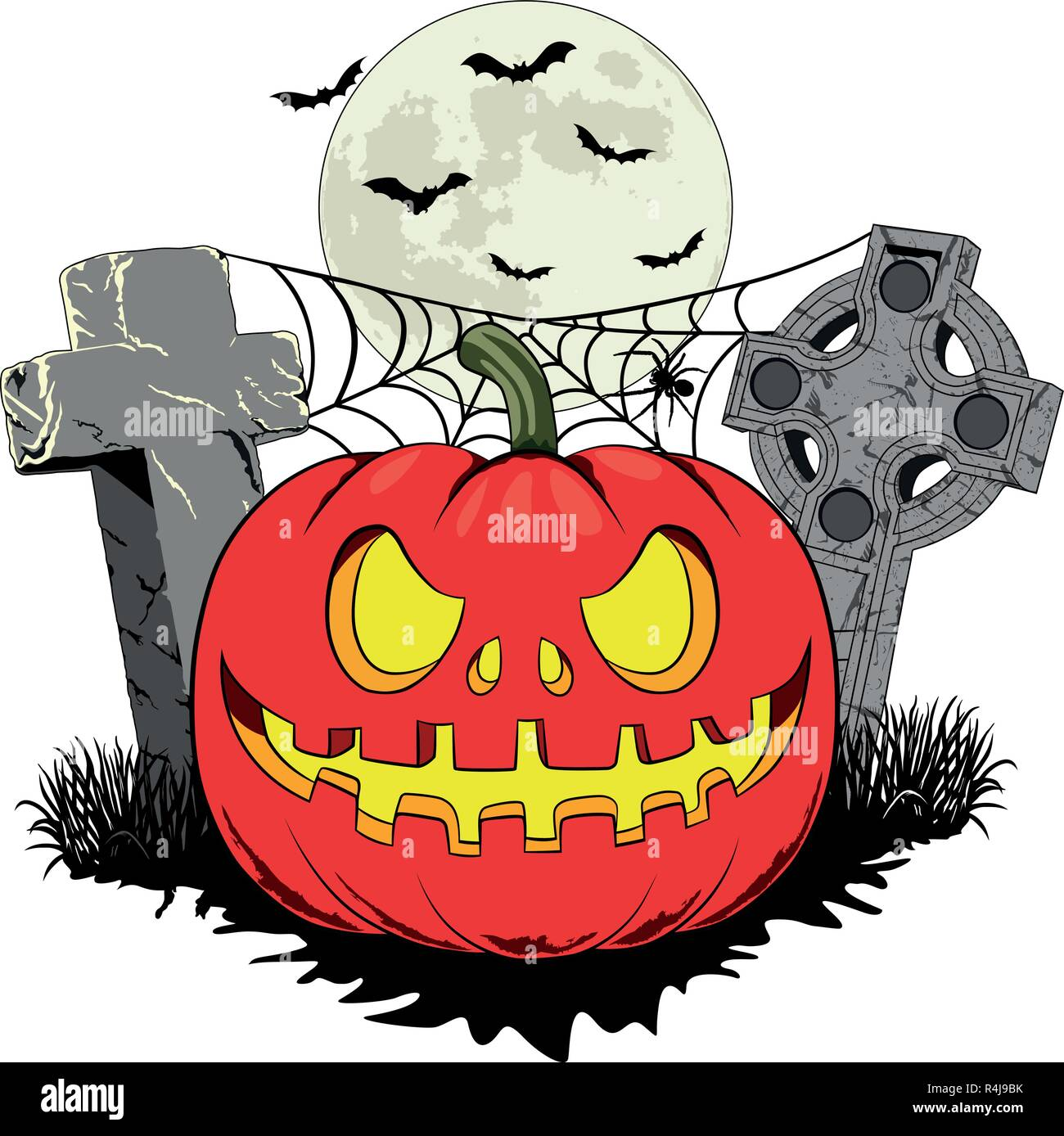 halloween pumpkin in a cemetery with two graves, a spider on the spider web and bats halloween pumpkin in a cemetery with two graves. - Stock Vector