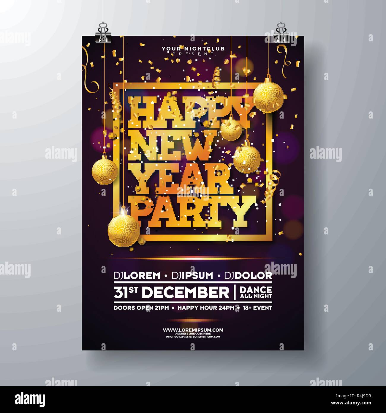new year party celebration poster template illustration with typography design glass ball and falling confetti on shiny colorful background