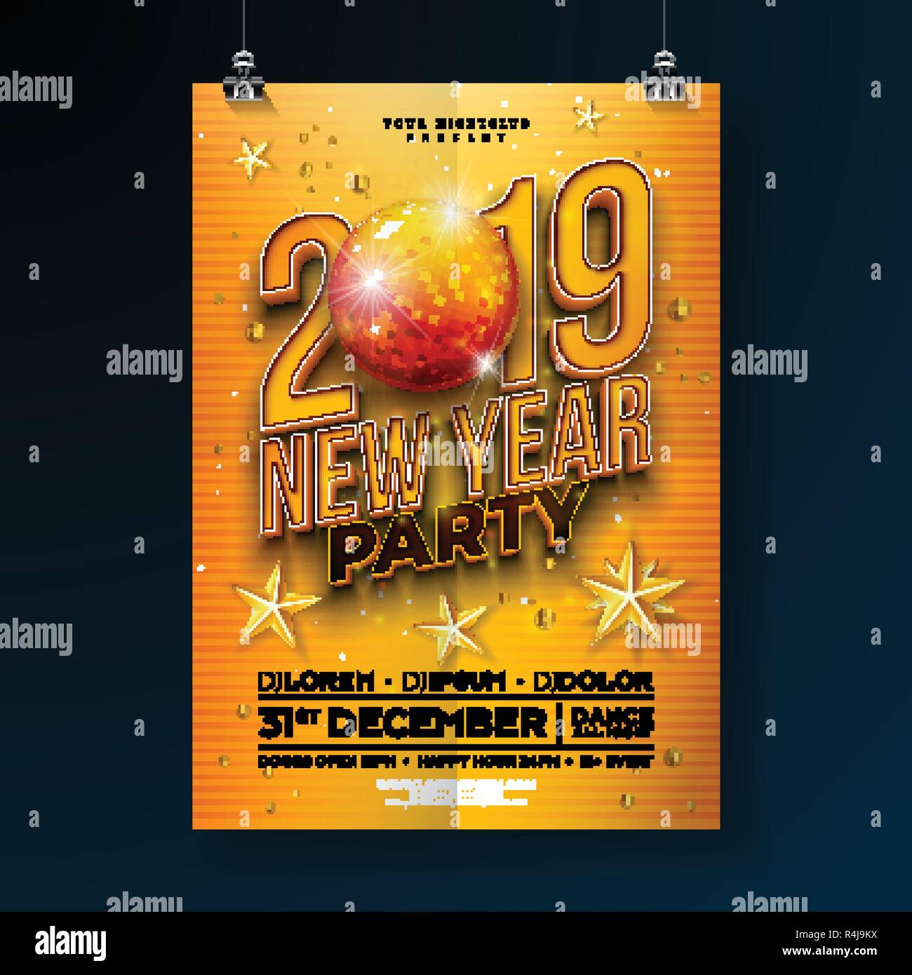 new year party celebration poster template design with 3d 2019 number and disco ball on yellow