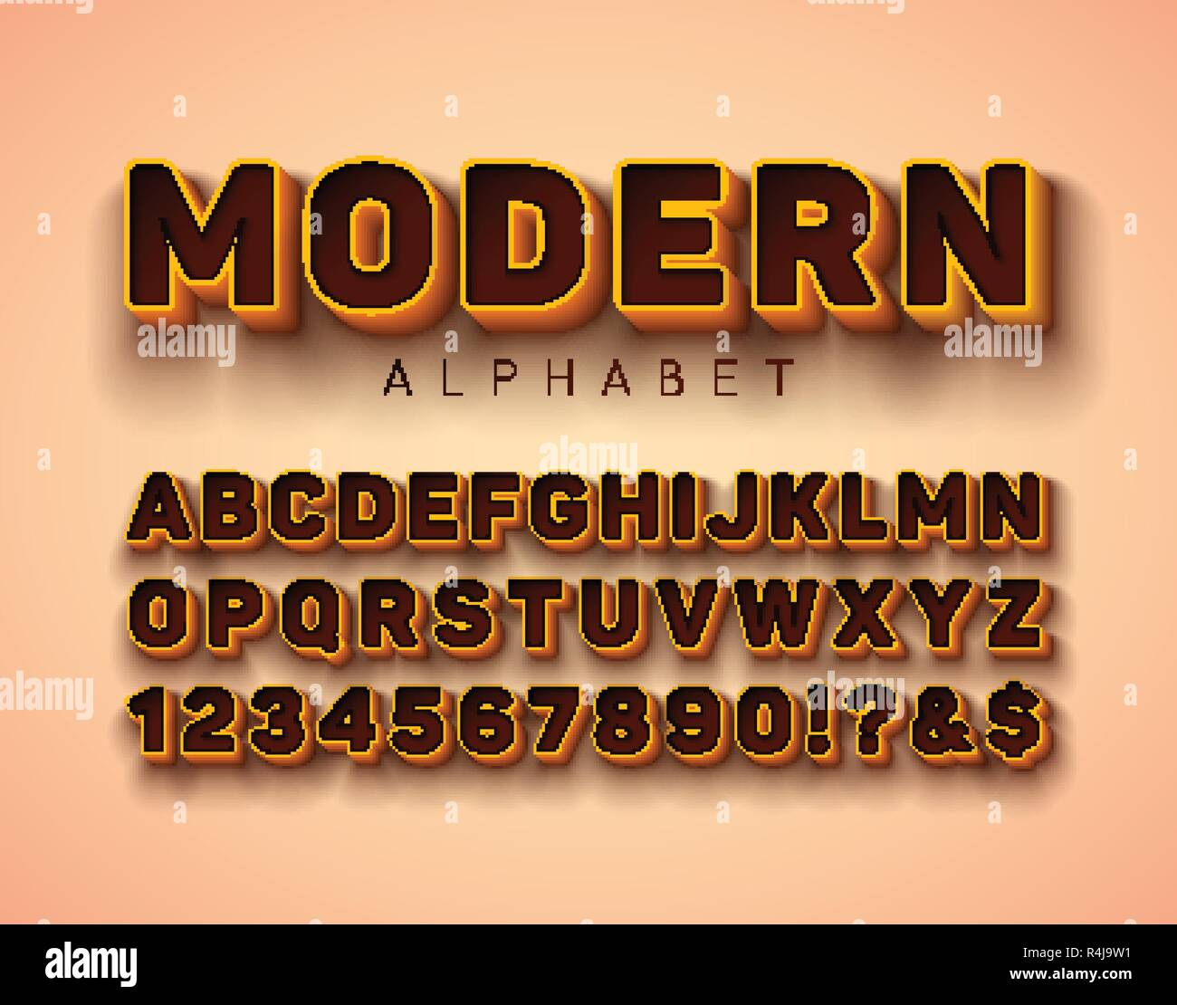 Vector 3d Alphabet Font with Frame and Shadow on Red Background