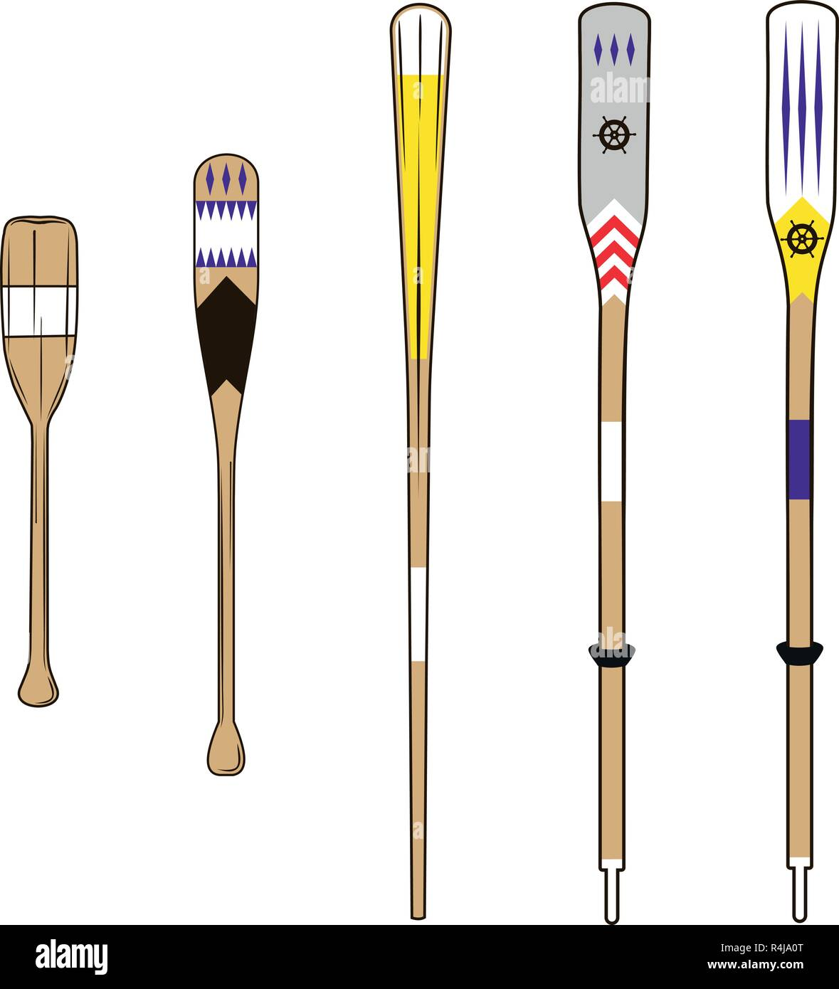 various types of wooden oars with various colors - Stock Vector