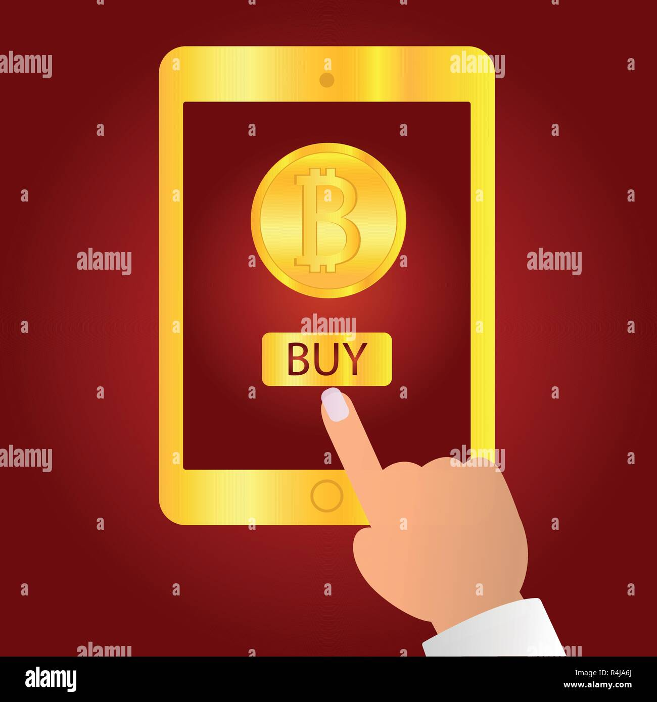 Hand holding gold tablet device isolated on red background. Tablet on human hands with bitcoin icon and index finger pointer touch the screen flat design vector illustration. Symbol logo sign. - Stock Vector
