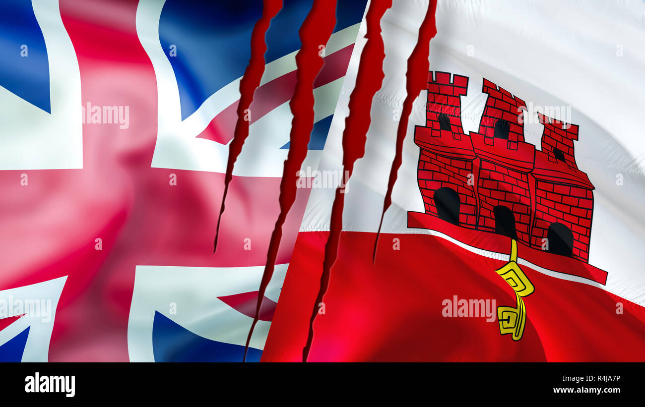 Gibraltar and UK flags. Brexit 3D Waving flag design. Gibraltar UK flag, pictures, wallpaper, image. Gibraltar UK territory conflict,trade concept. Th Stock Photo