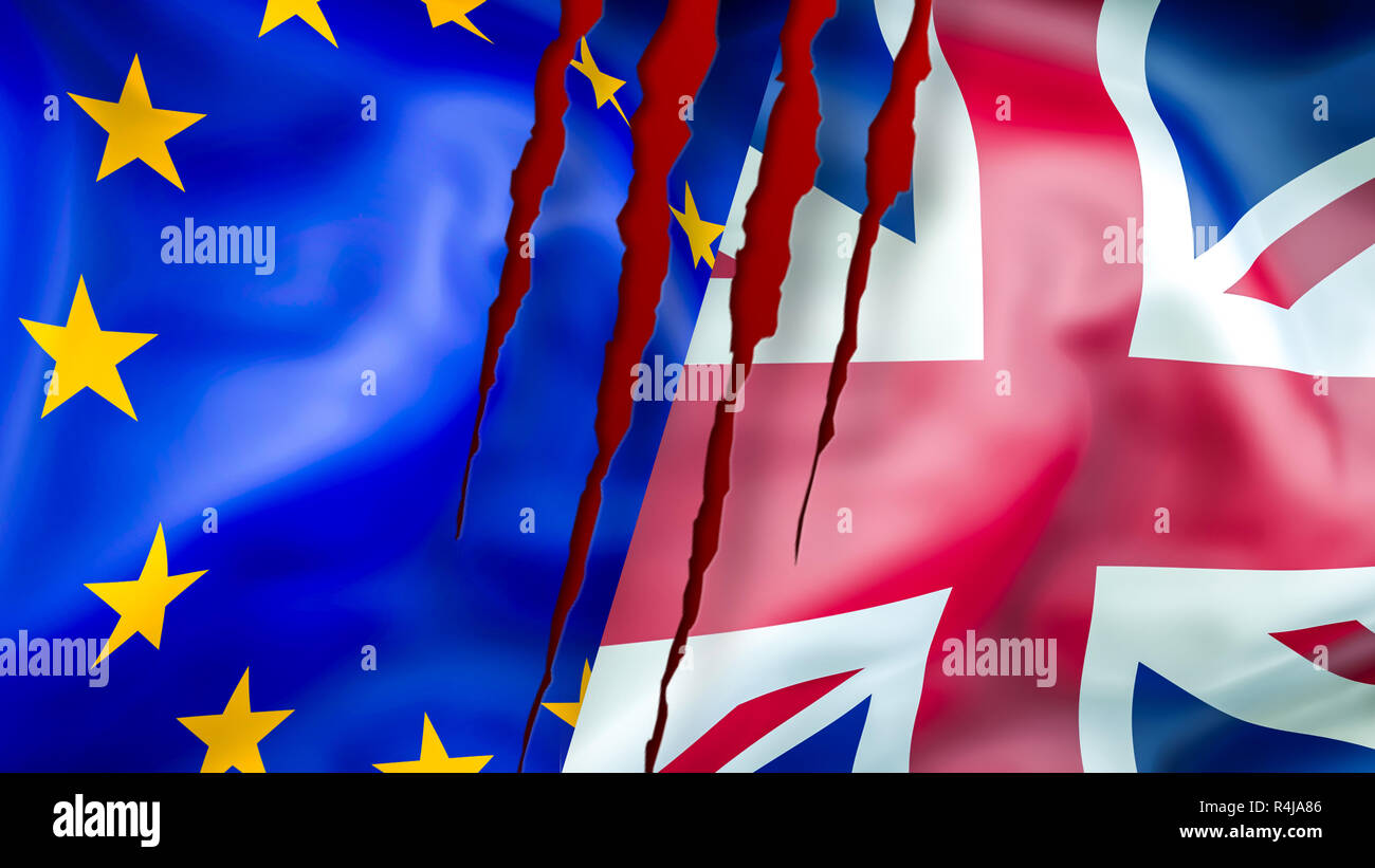 EU and UK flags. Brexit 3D Waving flag design. EU UK flag,  pictures, wallpaper, image. EU UK rights concept. The national flag of the United Kingdom  - Stock Image