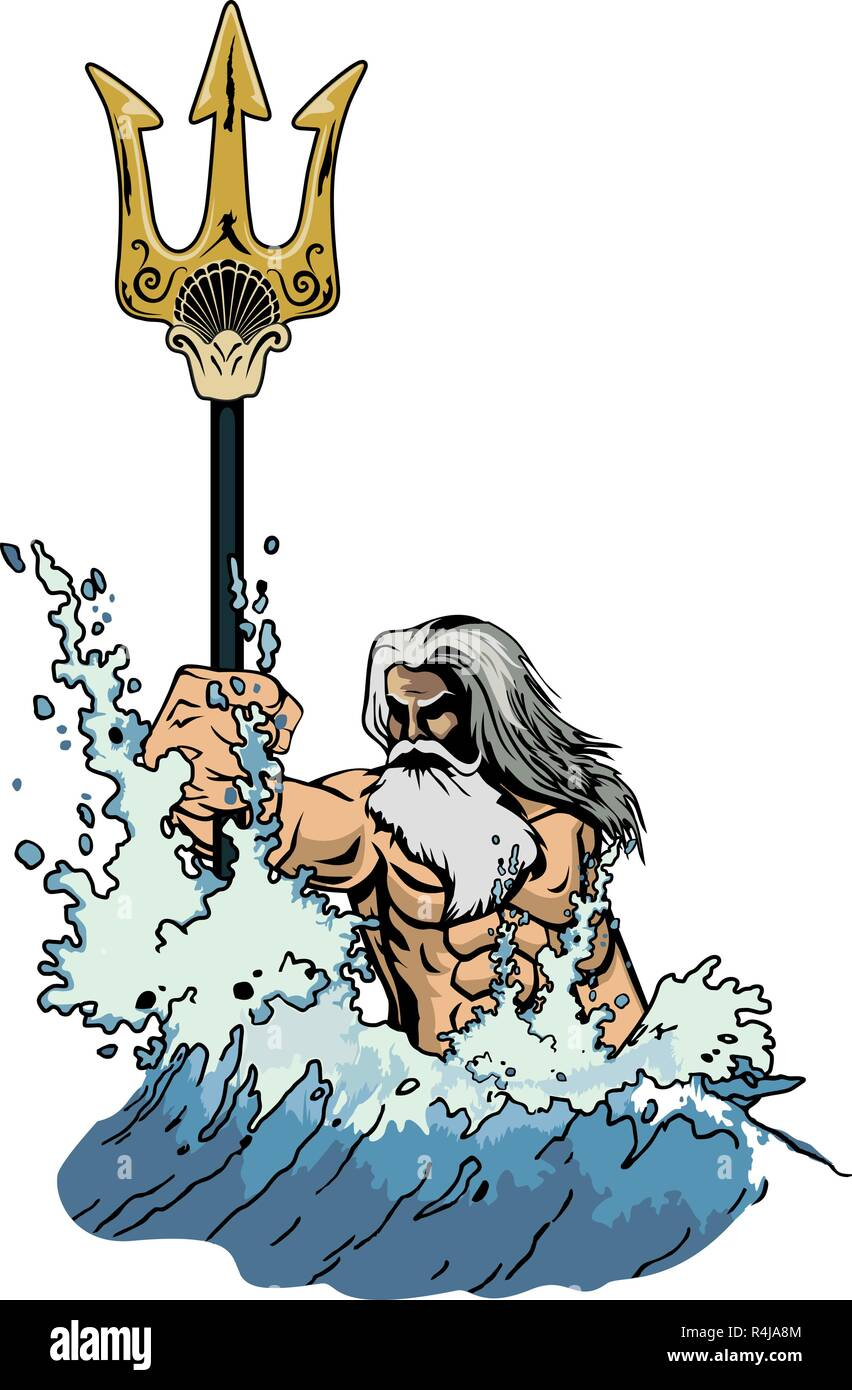 illustration sea god Neptune or Poseidon, comes out of the sea, taking in hand a trident. - Stock Vector