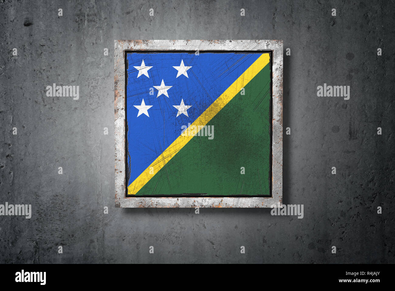 3d rendering of a Solomon Islands flag in a concrete wall - Stock Image