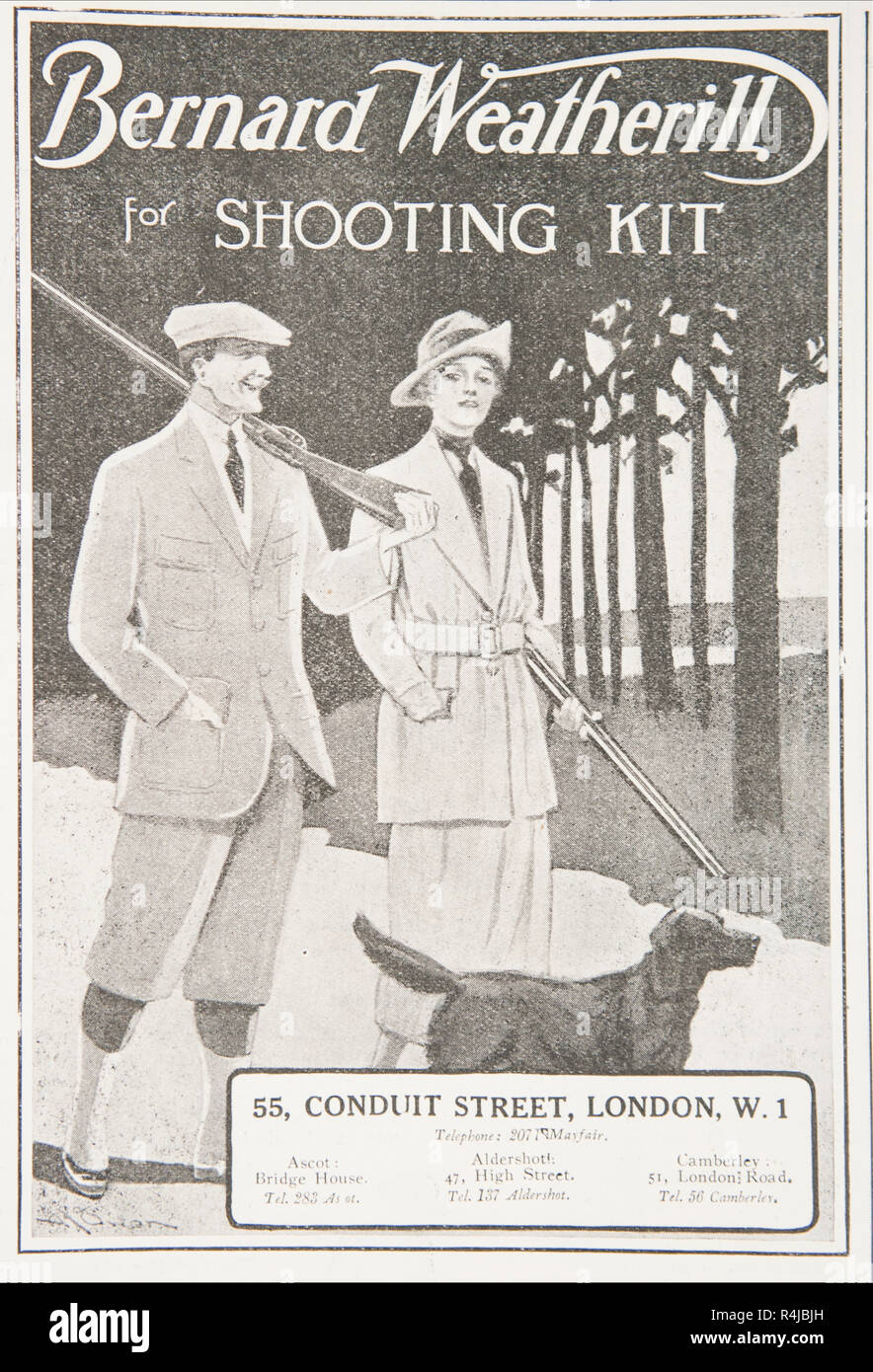 An old advert for Bernard Weatherill shooting kit. From an old British magazine from the 1914-1919 period. - Stock Image