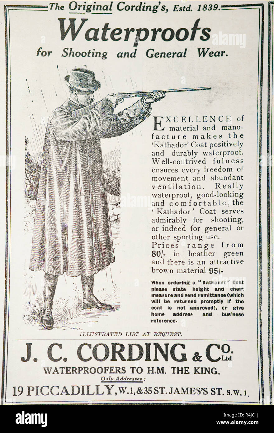 An old advert for J.C. Cording & Co for waterproof clothing. From an old British magazine from the 1914-1919 period. - Stock Image