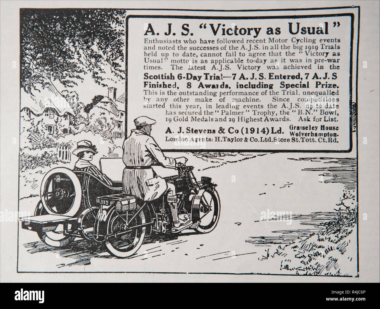 An old advert for A.J. Stevens & Co motorbikes. From an old British magazine from the 1914-1919 period. - Stock Image