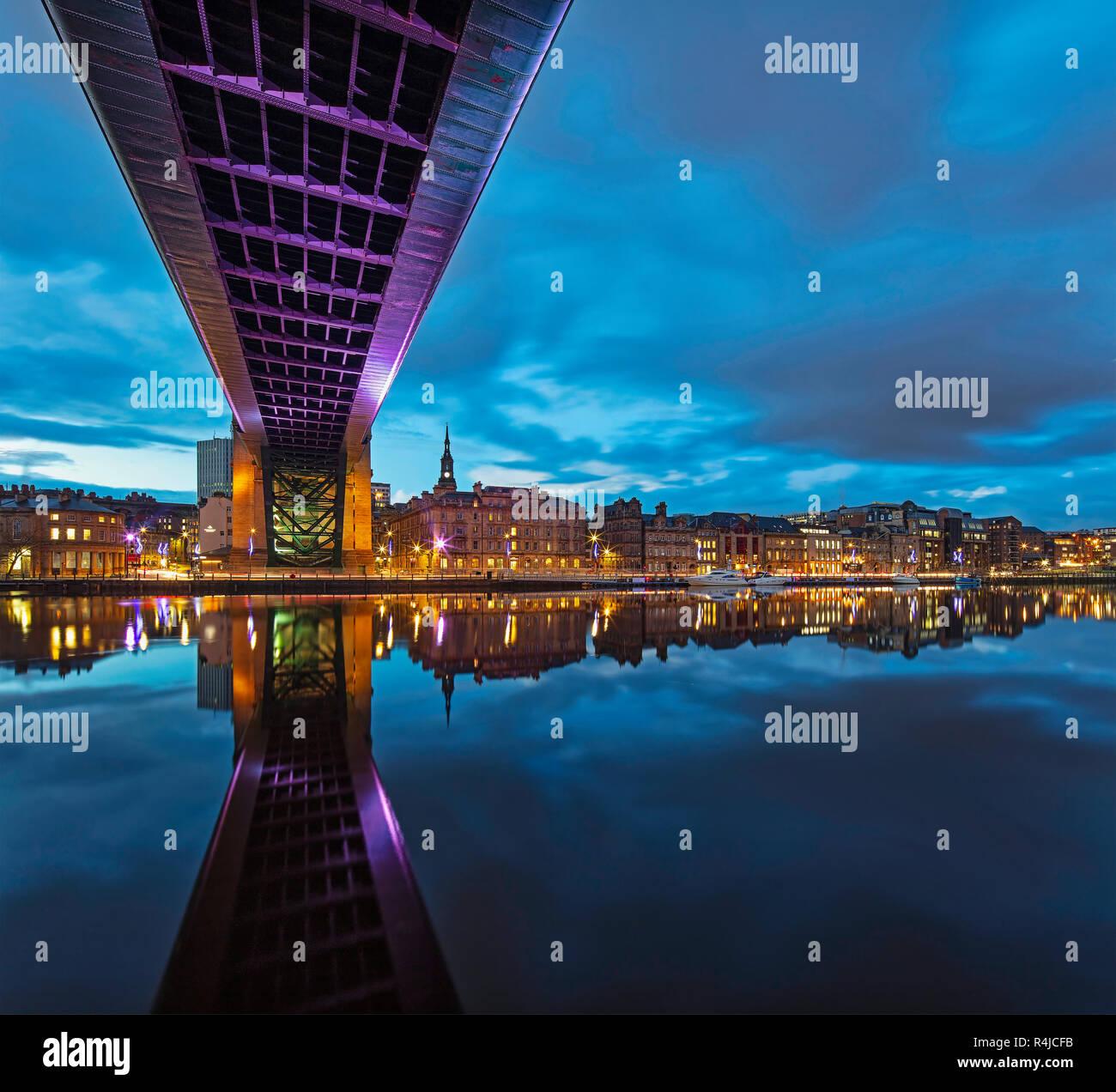 Reflections along Newcastle quayside at twilight, Newcastle upon Tyne, Tyne & Wear, England, United Kingdom Stock Photo