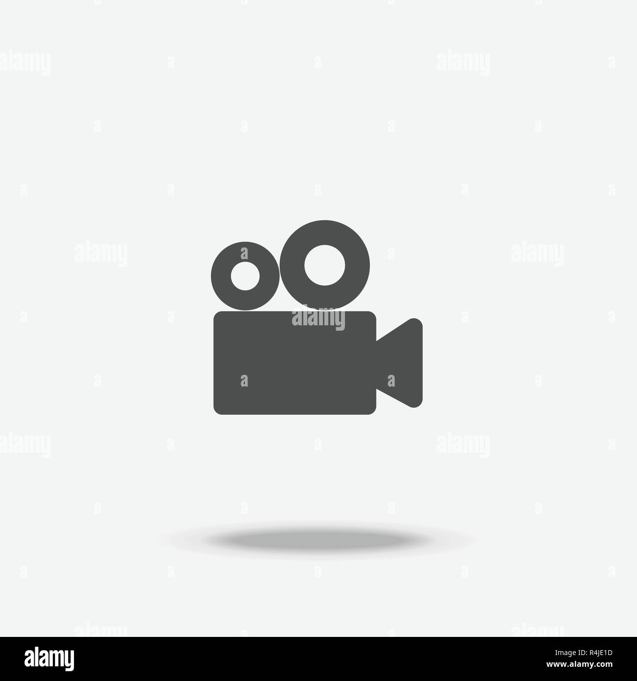 Video Cinema Camera flat design icon vector with shadow - Stock Image
