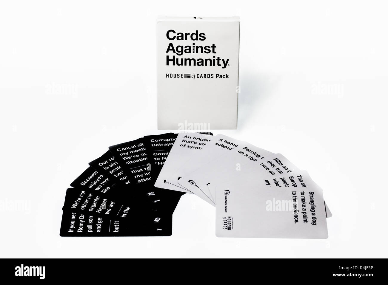 cards and box from the Cards against humanity game - Stock Image