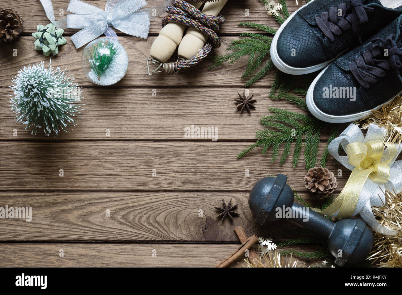 Fitness And Healthy Christmas Sport Composition Flat Lay Of Sport