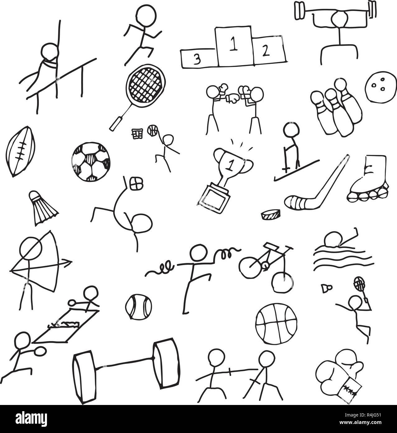 Sport Doodle art icon set. Thin line icon for Sea game and Olympic game. Hand drawn graphic design art. Exercise and Competition concept. - Stock Image