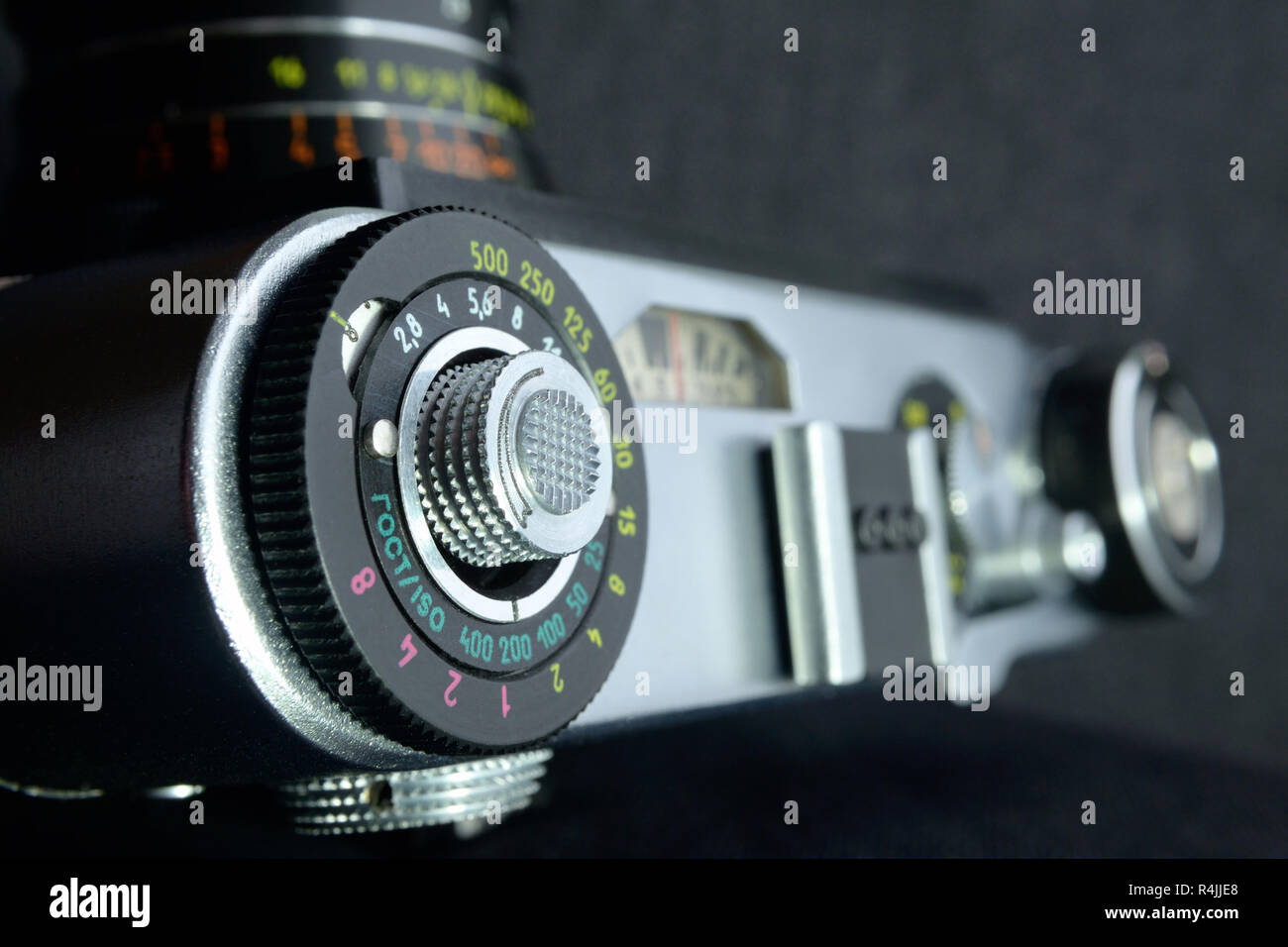Soviet mechanical SLR camera view from above close up Selective focus - Stock Image