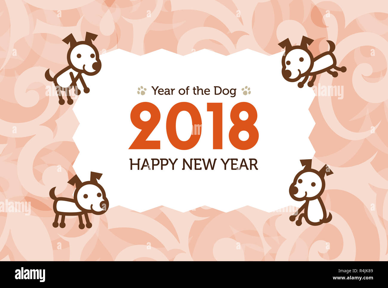 happy new year card 2018 year of the dog illustration