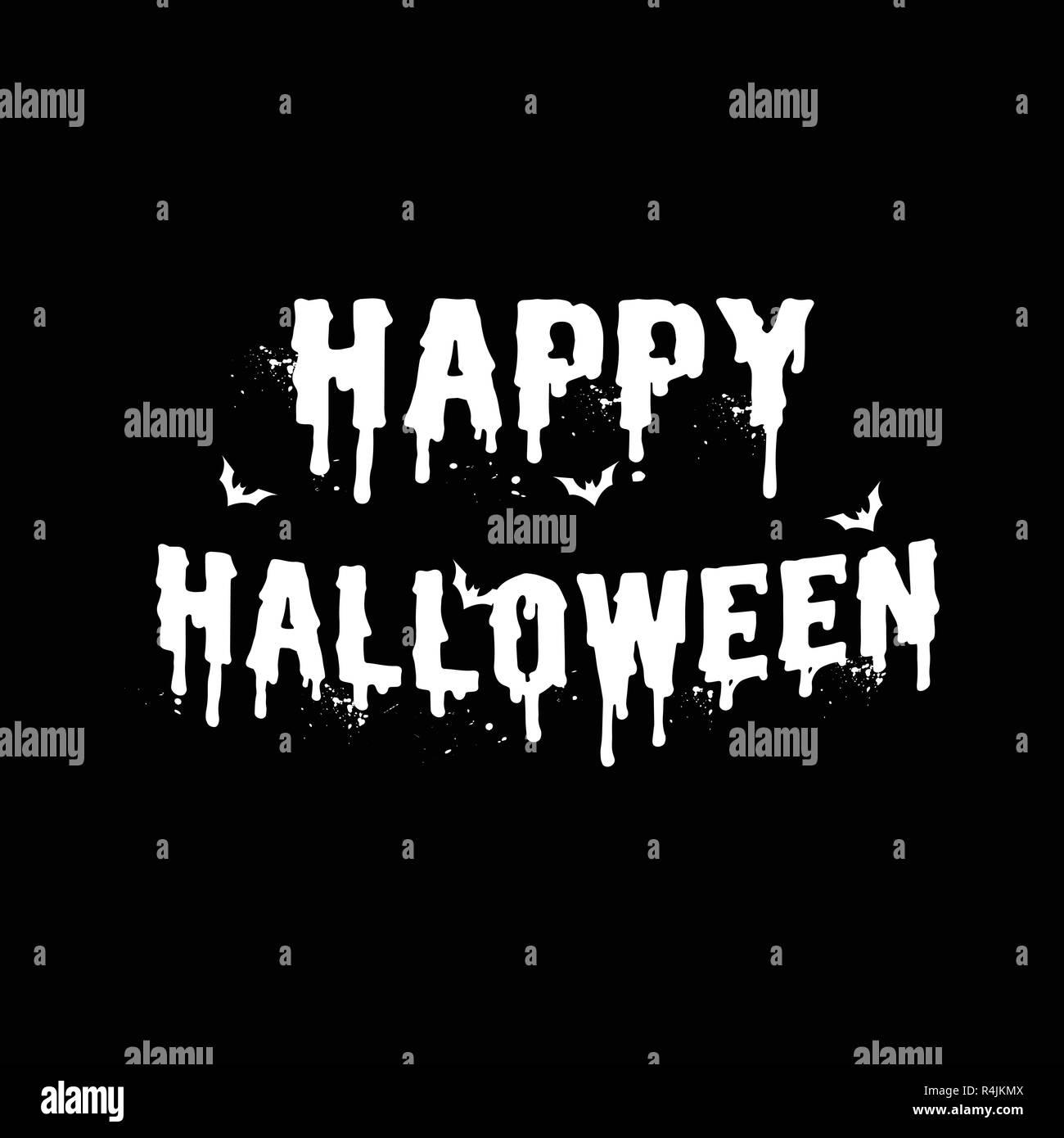 Happy Halloween White Letter On Black Background Invitation Letter