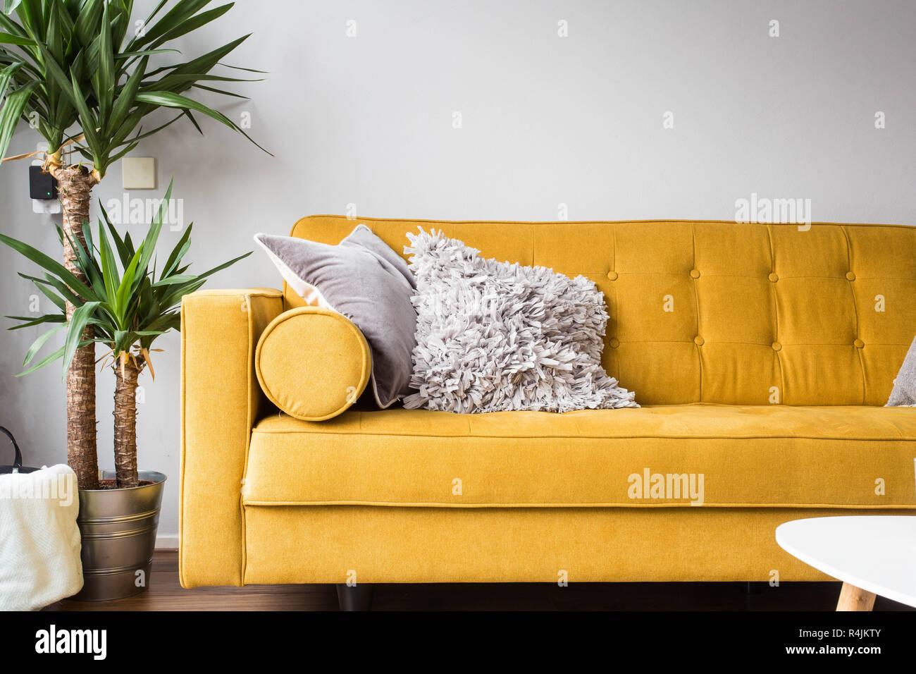 Stylish living room interior with comfortable yellow sofa and green ...