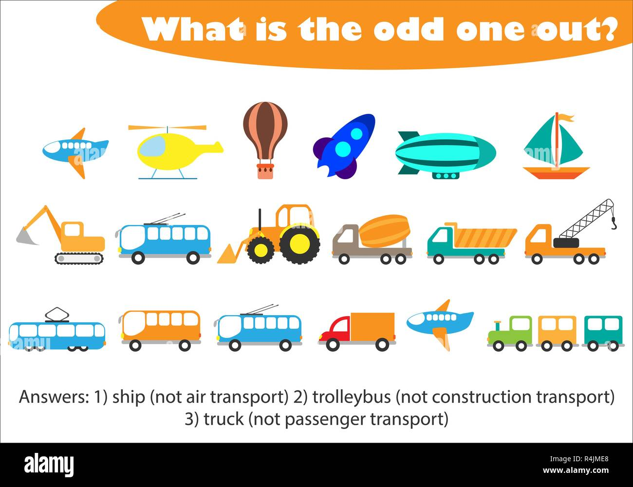 what is the odd one out for children transport in cartoon style