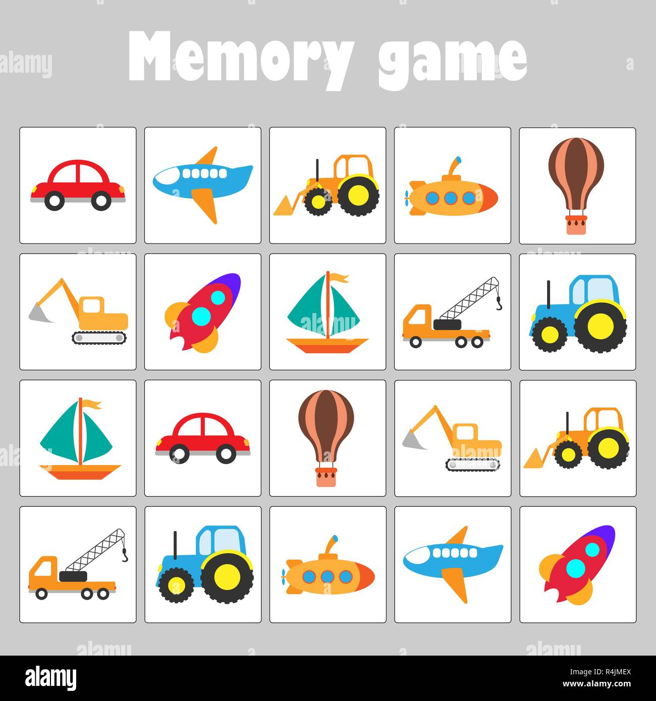 memory game with pictures different transport for children fun