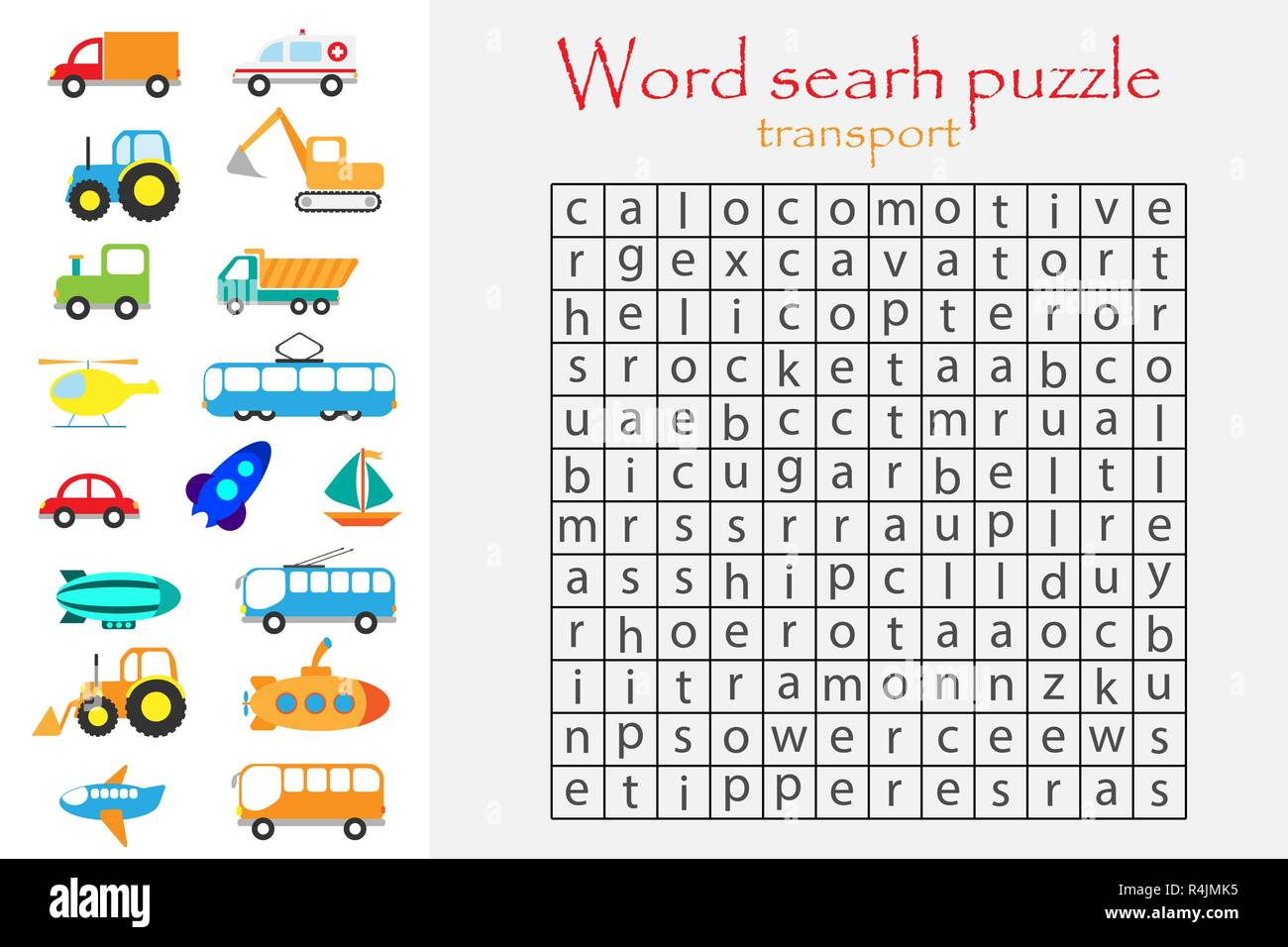 word search puzzle for children transport theme fun education game