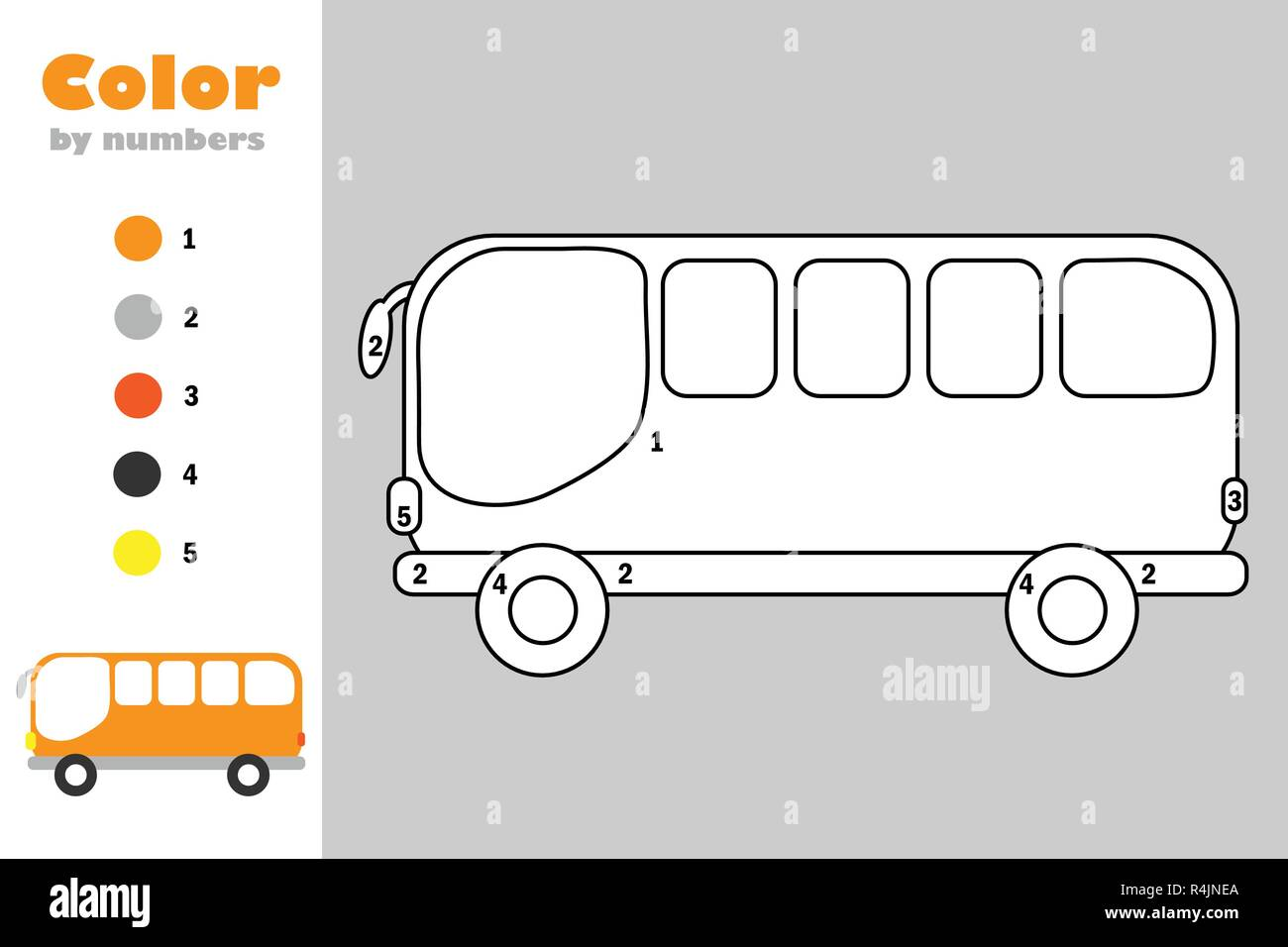 image regarding Bus Printable identified as Bus inside cartoon layout, coloration as a result of amount, schooling paper activity