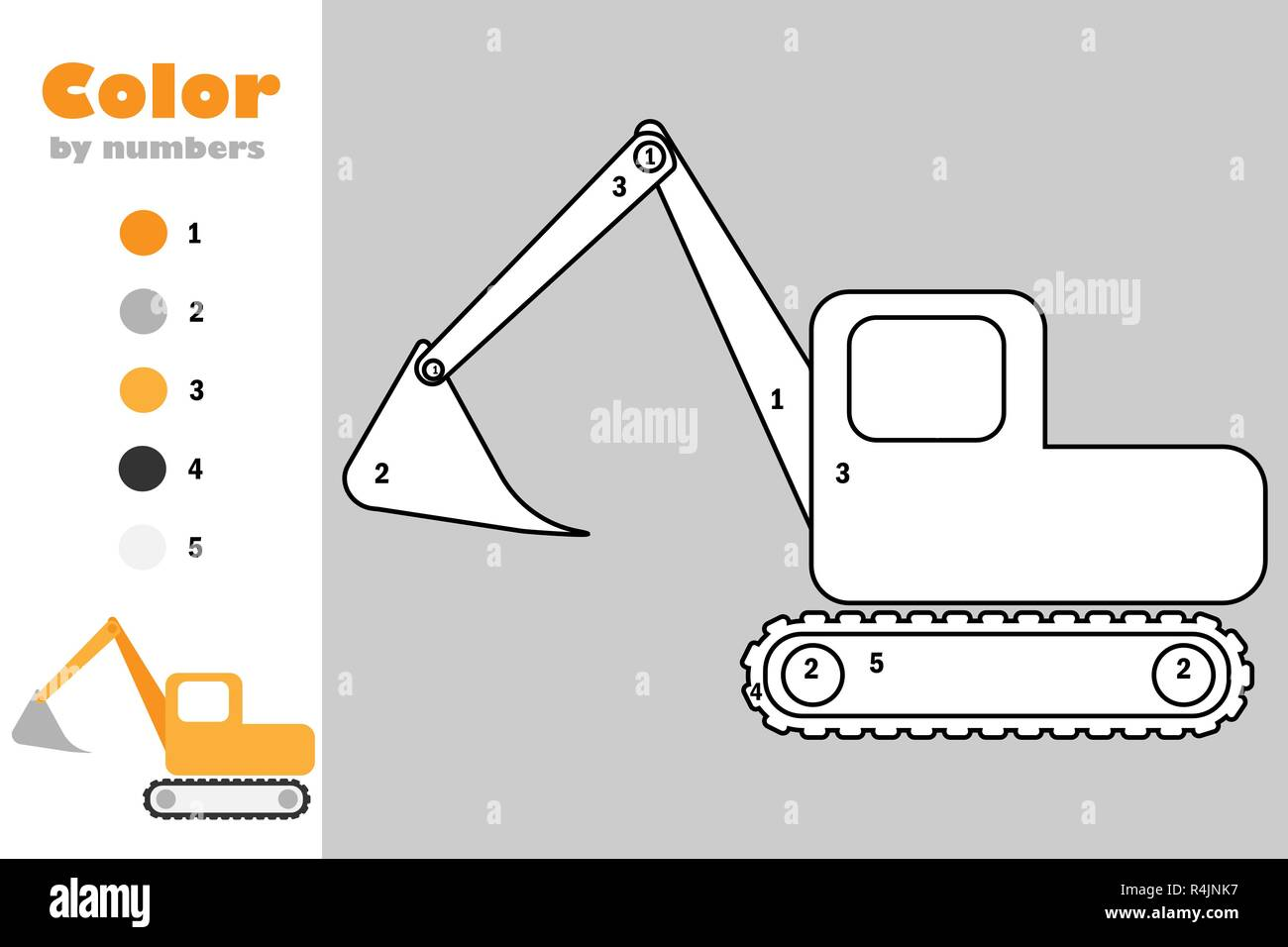 Excavator In Cartoon Style Color By Number Education Paper Game For The Development Of Children Coloring Page Kids Preschool Activity Printable W Stock Vector Image Art Alamy