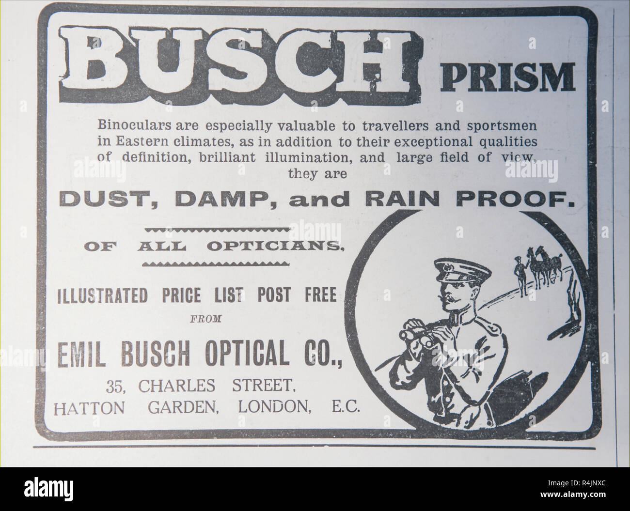 An old advert for Busch Prism binoculars. From an old British magazine from the 1914-1918 period. - Stock Image