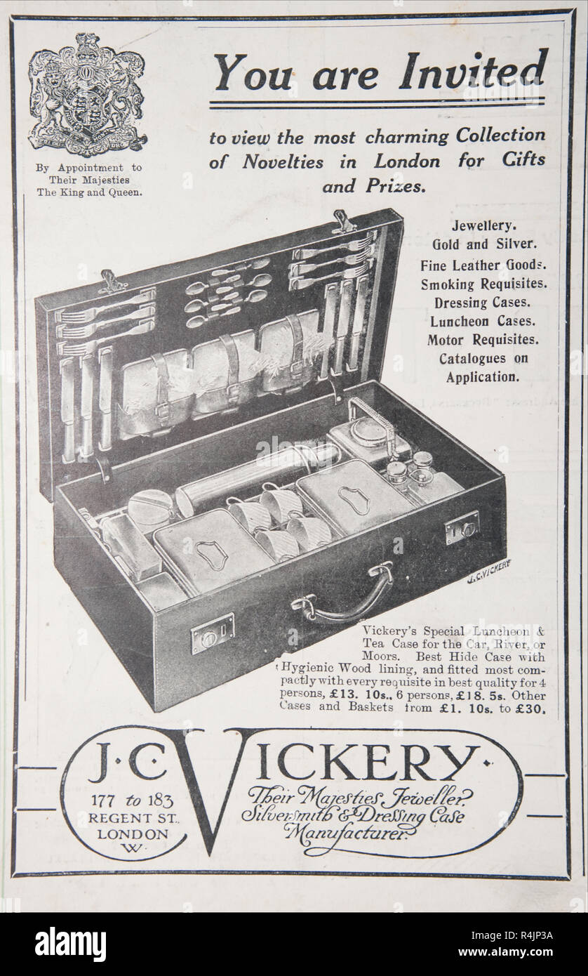 An old advert for J.C. Vickery. From an old British magazine from the 1914-1918 period. - Stock Image