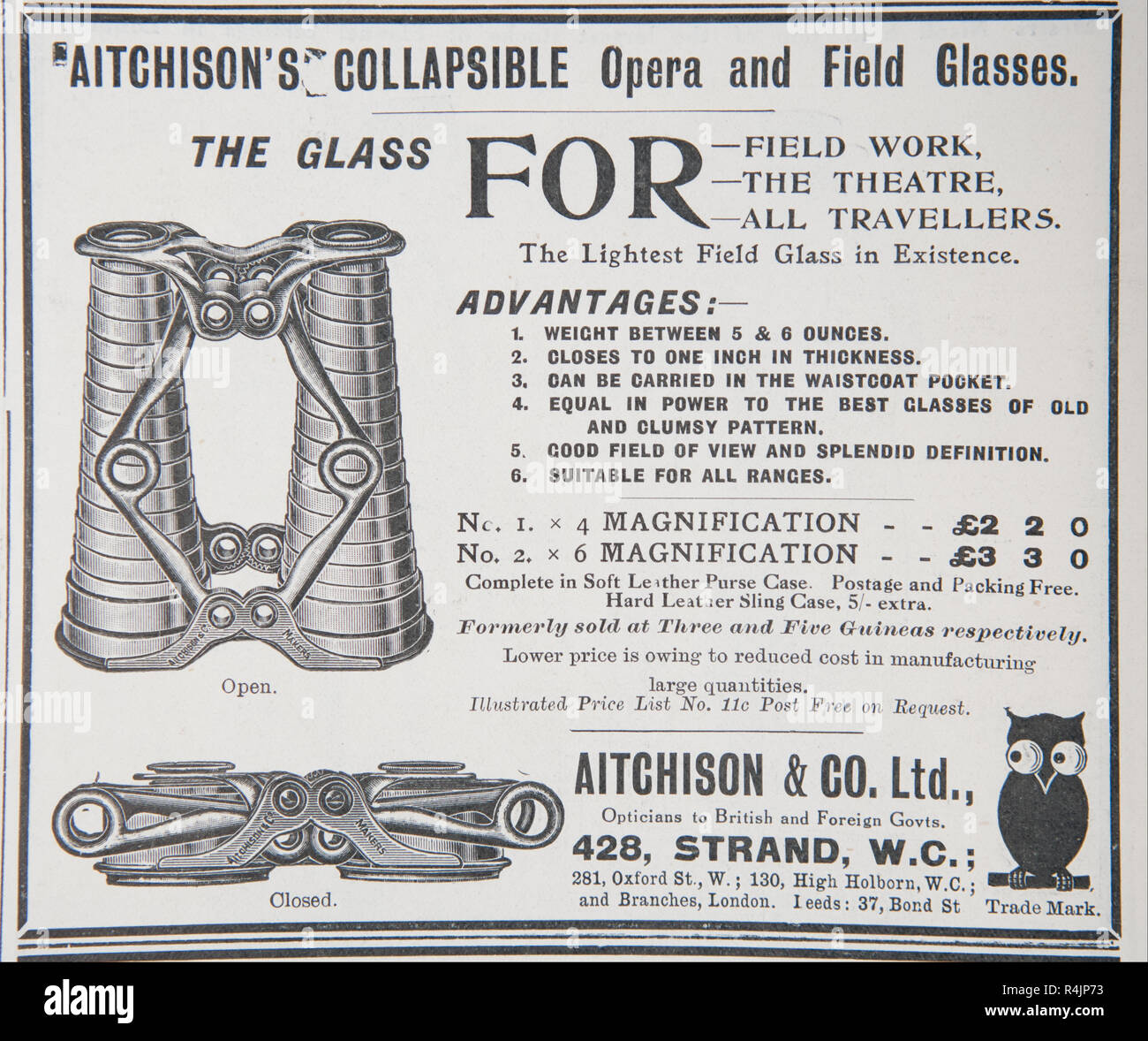 An old advert for Aitchison's collapsible opera and field glasses. From an old British magazine from the 1914-1918 period. - Stock Image
