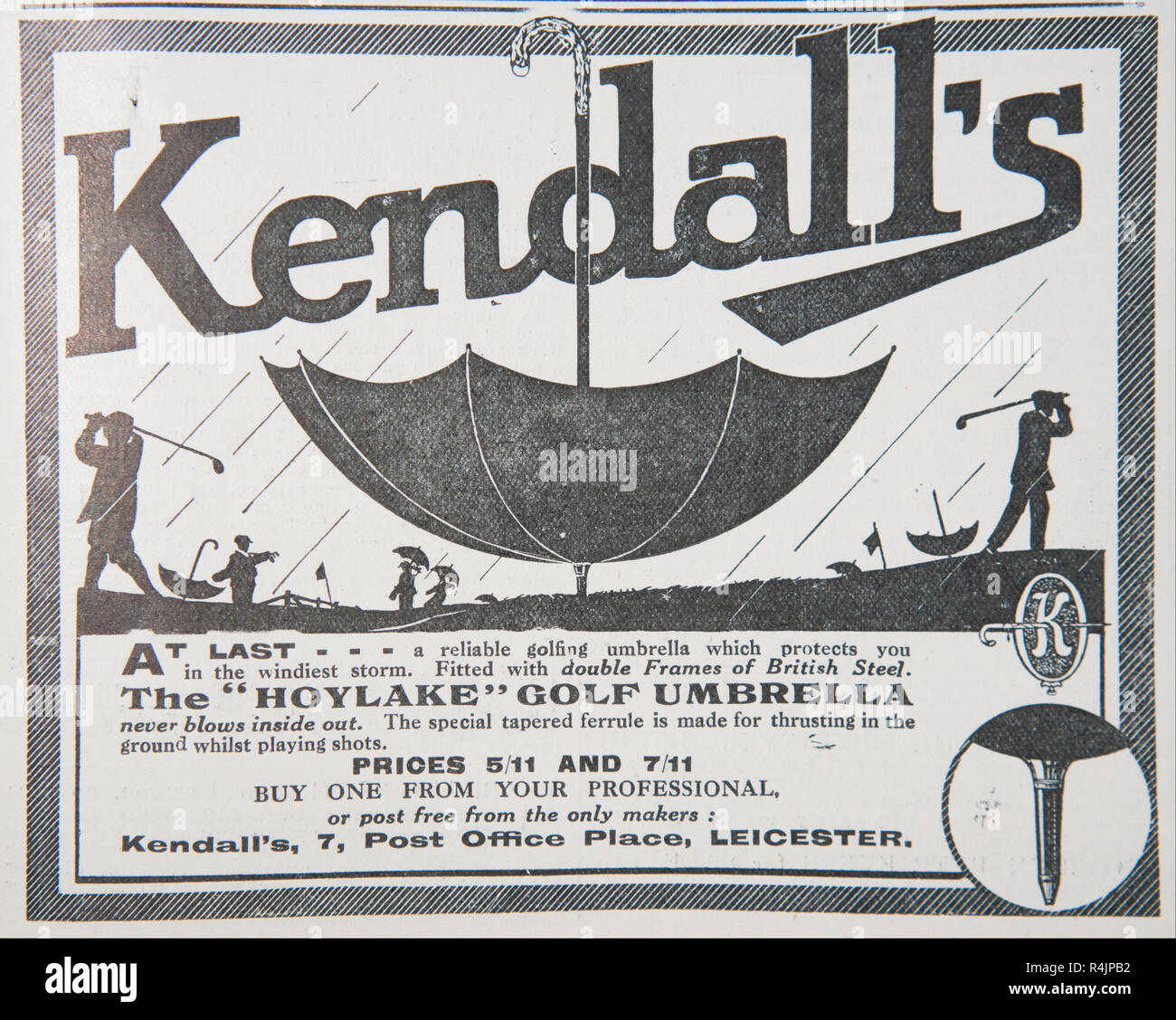 An old advert for Kendall's golf umbrella. From an old British magazine from the 1914-1918 period. - Stock Image