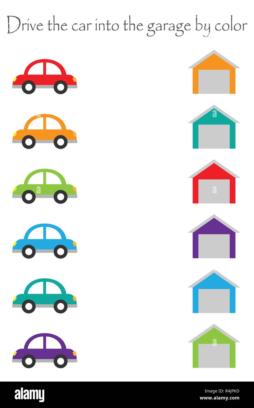 - Drive Colorful Cars In Cartoon Style Into Garages By Color For