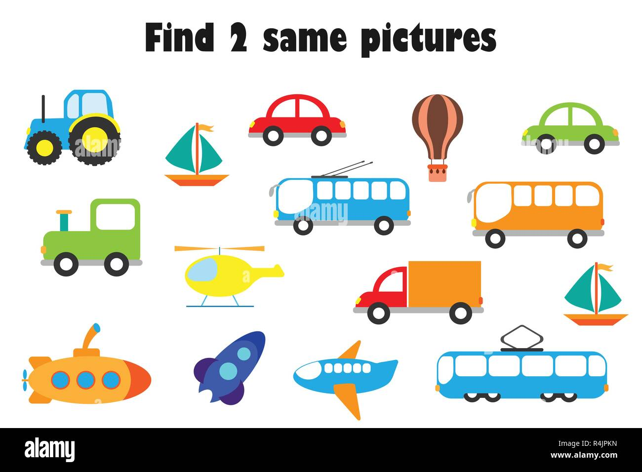 find two identical pictures fun education game with transport in