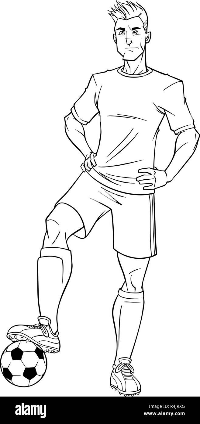 Football Player Line Art - Stock Vector