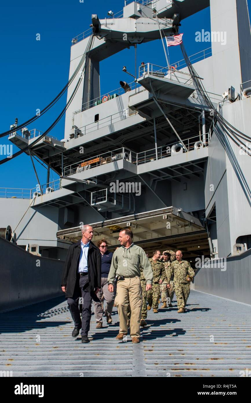 """BUSAN, Republic of Korea (Oct. 30, 2018) U.S. Rep. William McClellan """"Mac"""" Thornberry, chairman of the House Armed Services Committee (HASC), departs the Watson-class vehicle cargo ship USNS Red Cloud (T-AKR-313) following a tour at the Military Sealift Command (MSCO) in Busan. Thornberry's visit to MSCO is part of an overall site visit to the Korean peninsula to meet with U.S. military components and gain a better understanding of the U.S. and ROK alliance. Stock Photo"""