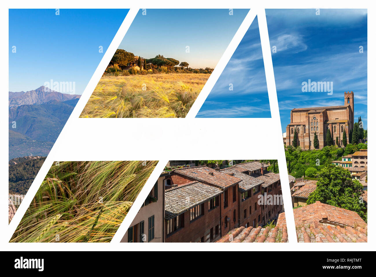 Collage of the hills in Tuscany - Stock Image