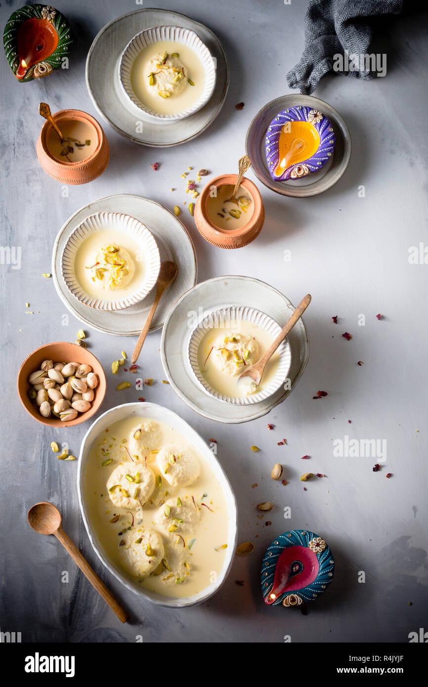 Ras malai, an Indian sweet delicacy, having a rich cheesecake texture Stock Photo