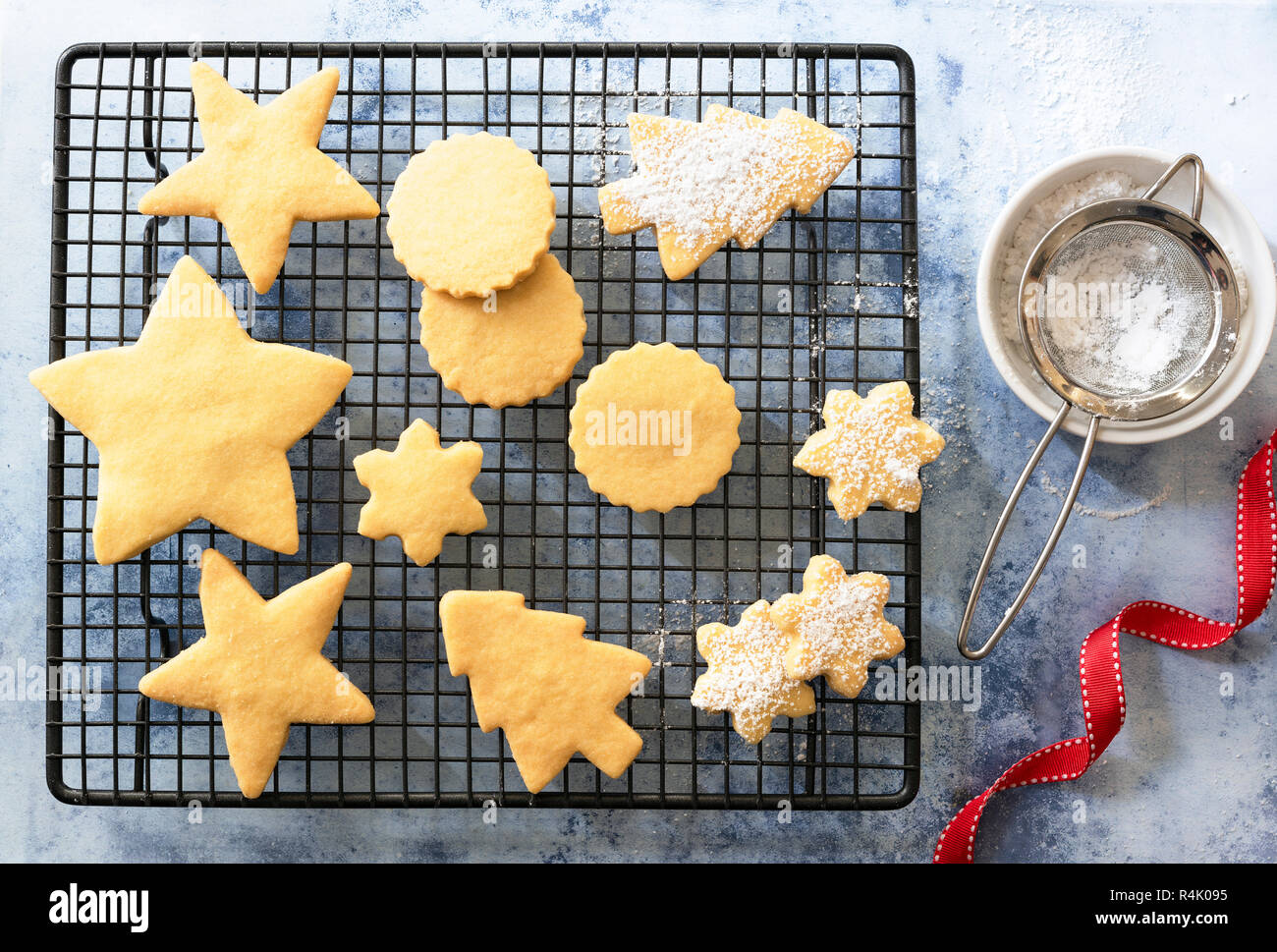 Different Shaped Christmas Shortbread Biscuits Partially Covered