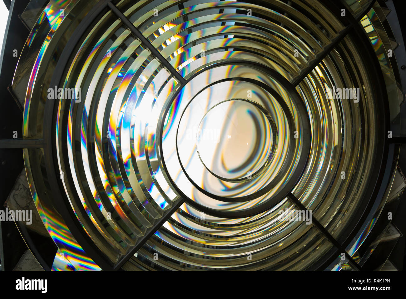 Shaped prisms which concentrate the light house lamp light into super powerful beam using a lightweight Fresnel lens. Saint Catherine's Lighthouse on the Isle of Wight. UK (98) - Stock Image