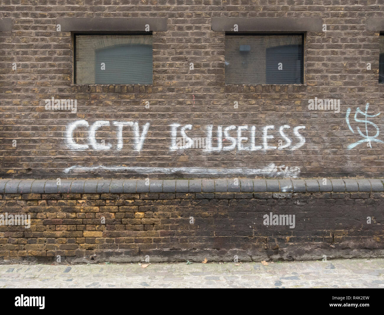 CCTV is useless slogan Stock Photo