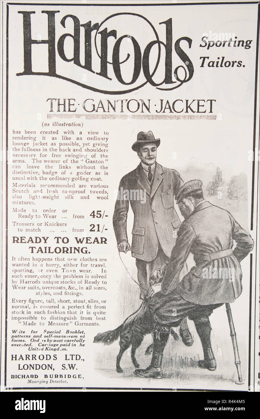 An old advert for Harrods Sporting Tailors Ganton jacket. From an old British magazine from the 1914-1918 period. - Stock Image
