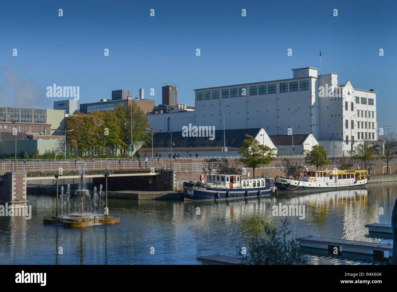 Inland harbour basin, Maastricht, the Netherlands, Binnenhafen Bassin, Niederlande - Stock Image